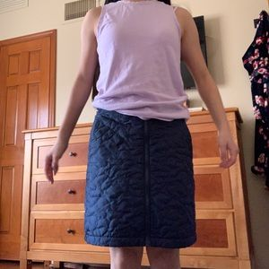 Quilted navy blue skirt
